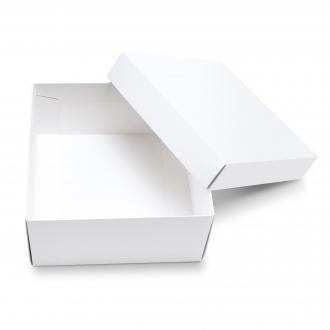 Подарочная белая коробочка из картона 20x20x10 см