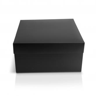 Подарочная черная коробочка из картона 24x24x12 см