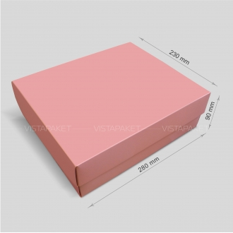 Подарочная розовая коробочка из картона 28x23x9 см