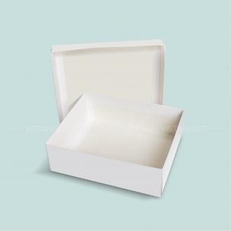 Подарочная белая коробочка из картона 28x23x9 см