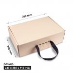 Коробка 24x36x11 см бежевая с лентой