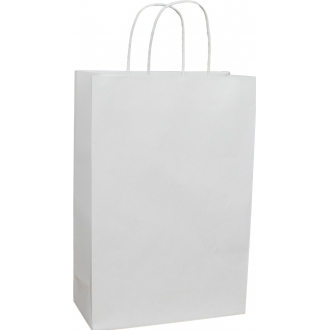 Пакет крафтовый белый подарочный с крученными ручками