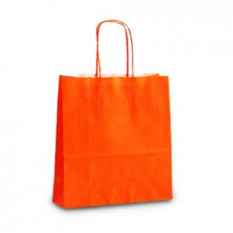Пакет крафтовый оранжевый подарочный с крученными ручками