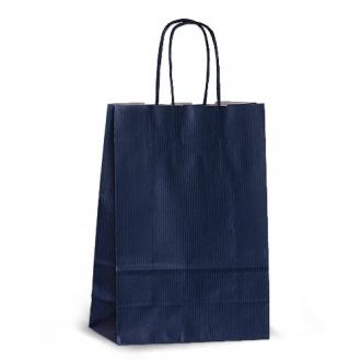 Пакет крафтовый синий подарочный с крученными ручками