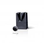 Пакет бумажный 15*23*8 см черный Emboss, структура 12