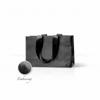 Пакет бумажный 23*15*8 см черный Emboss, структура 12