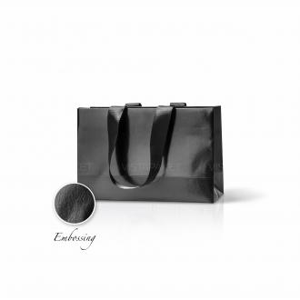 Пакет бумажный 23*15*8 см черный Emboss