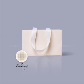 Пакет бумажный 23*15*8 см кремовый Emboss