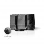 Пакет бумажный 38*24*14 см черный Emboss, структура 12