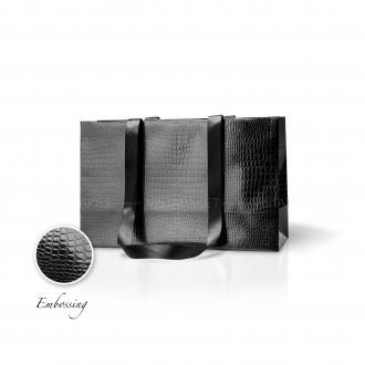 Пакет бумажный 38*24*14 см черный Emboss