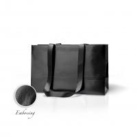 Пакет бумажный 38*24*14 см черный Emboss, структура 18