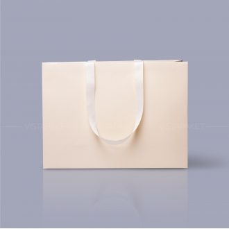 Пакет бумажный 45*33*15 см бежевый Emboss