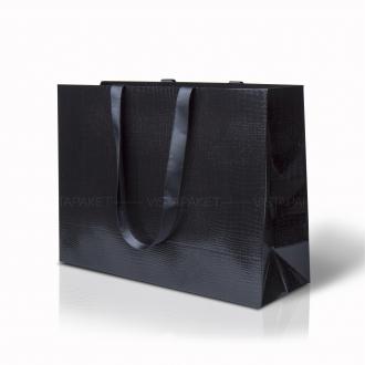 Пакет бумажный 45*33*15 см черный Emboss