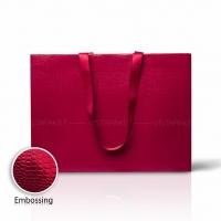 Пакет бумажный 45*33*15 см винный Emboss, структура 12