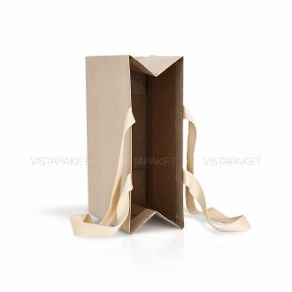 Пакет крафт картонний подарунковий з ручками-стрічками