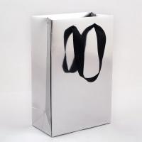 Пакет бумажный 15*23*8 см серебряный