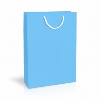 Пакет бумажный подарочный голубой с ручками