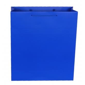 Пакет бумажный подарочный синий с ручками