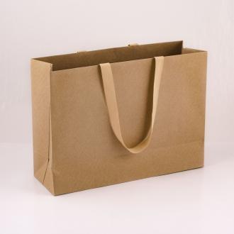 Пакет крафт картонный подарочный с ручками-лентами