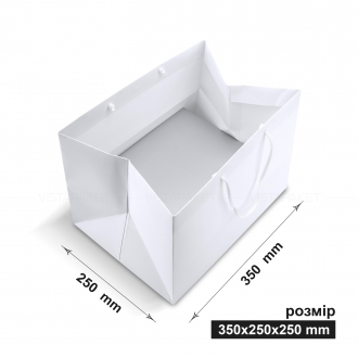 Пакет бумажный подарочный горизонтальный белый