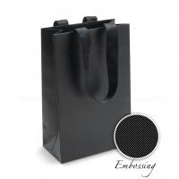 Пакет бумажный 15*23*8 см черный Emboss, структура 18, matt